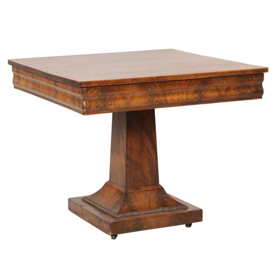 American Empire Flame Mahogany Veneer Pedestal Table, 19th Century