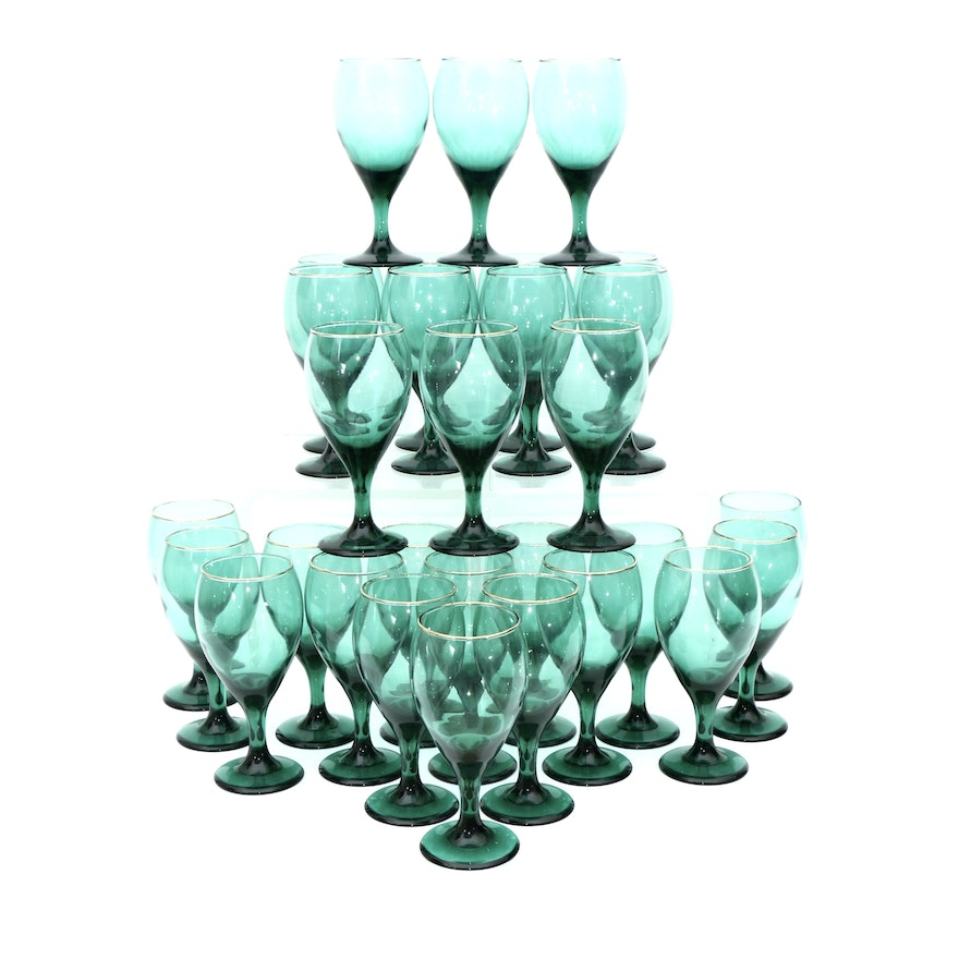 Green Glass Goblets With Gilt Rims, Mid to Late 20th Century