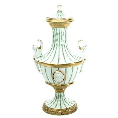 Italian Porcelain Urn with Bisque Portrait Accents