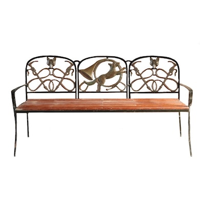 Kenneth Lynch & Sons Fox Hunt Slat Wood and Polished Brass Bench