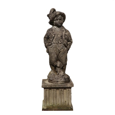 Concrete Yard Statue of Young Boy with Puppy, Late 20th Century