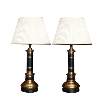 Frederick Cooper Brass and Ebonized Metal Table Lamps, 20th Century