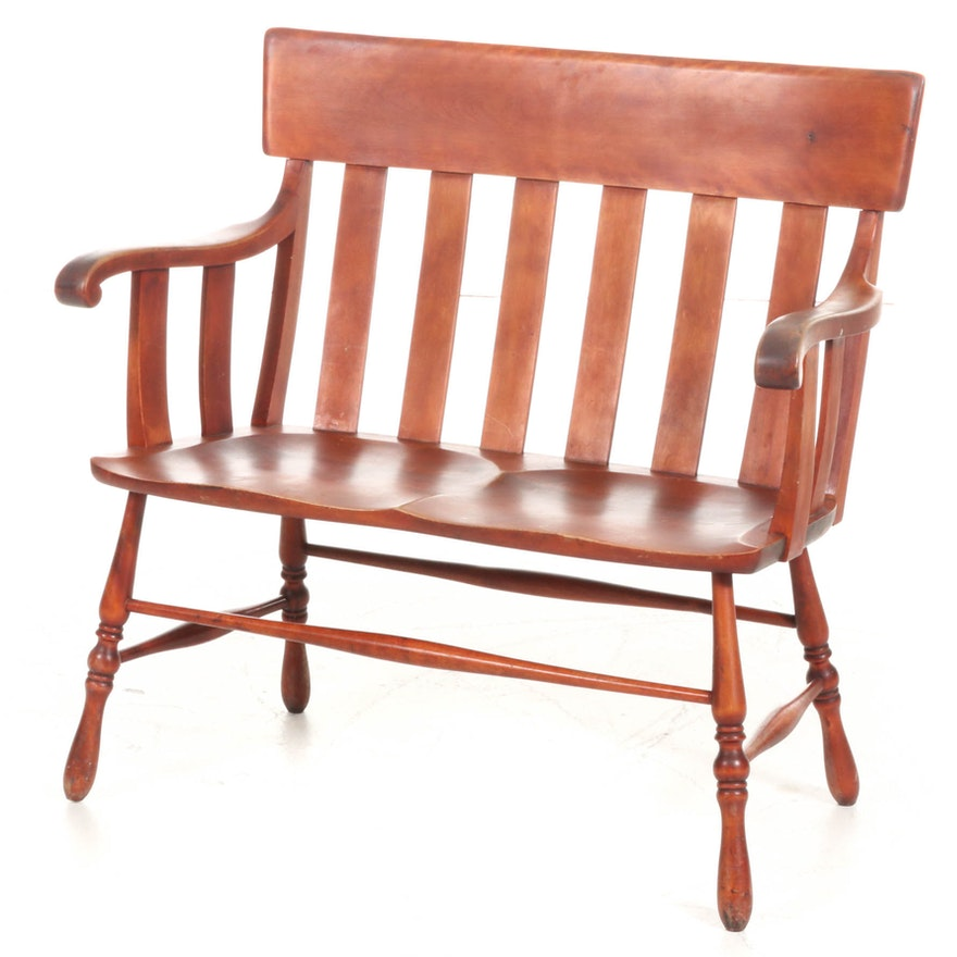 Stained Oak Wood Settee, Mid 20th Century