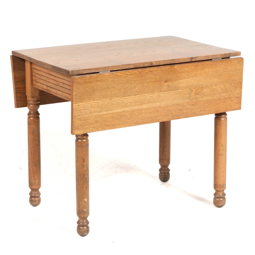 Oak Drop Leaf Kitchen Work Table, Early to Mid 20th Century