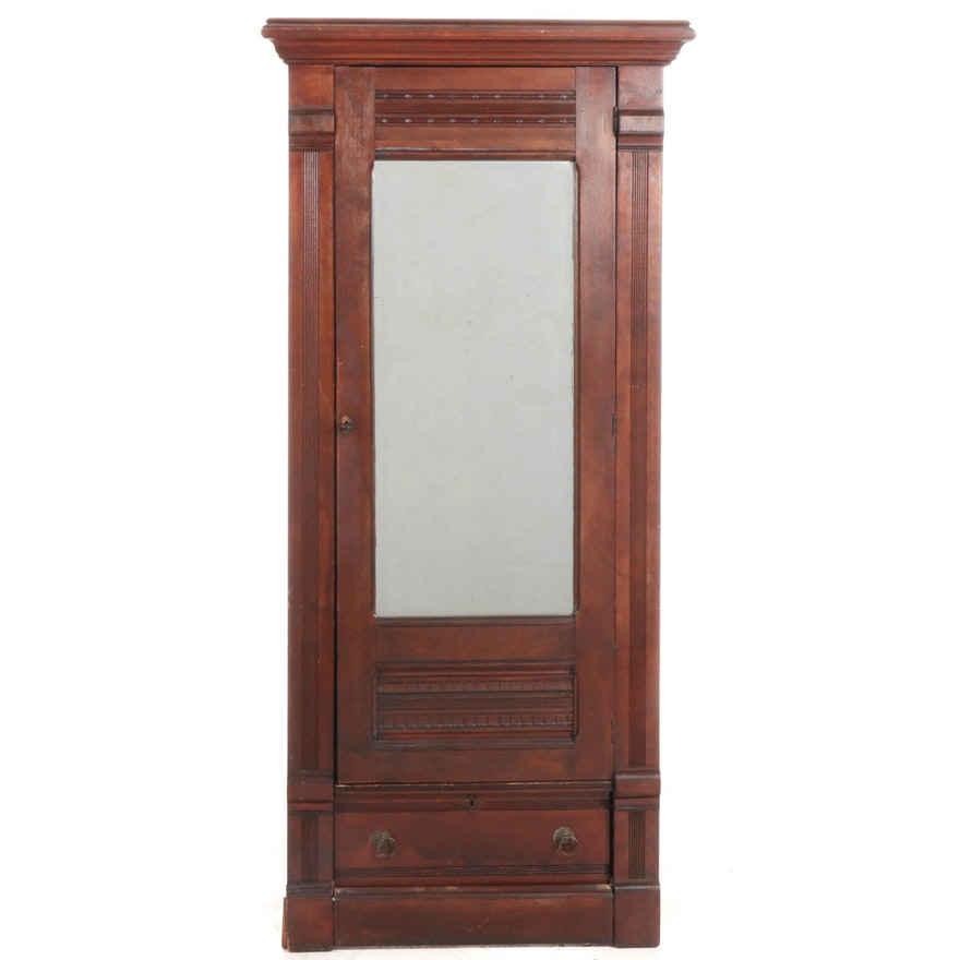 Victorian Walnut Armoire with Beveled Mirror Front, Late 19th Century