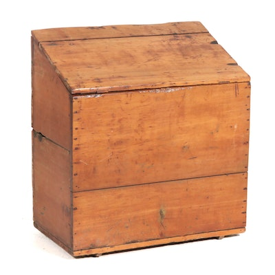 American Primitive Hand-Crafted Slant Top Grain Box, Late 19th to Early 20th C.