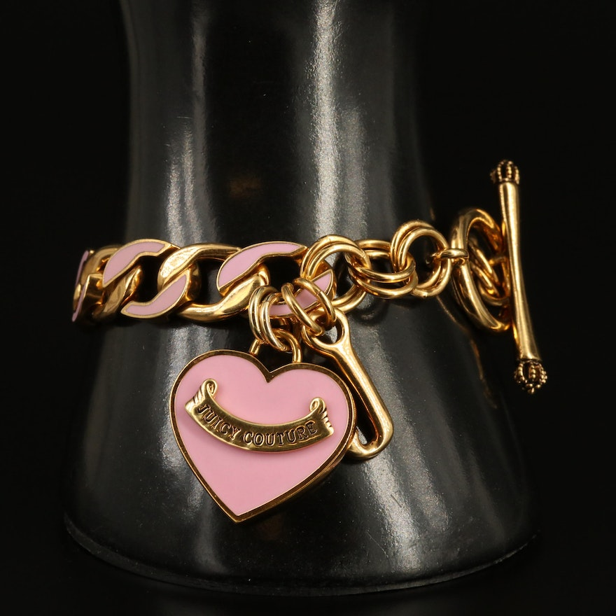 Juicy Couture Heart Bracelet with Pink Enamel