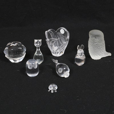 Lenox Crystal Vase, Crystal Paperweight, Glass and Crystal Figurines