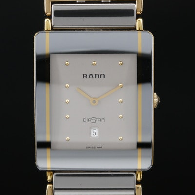 Swiss Rado Diastar with Date Stainless Steel Quartz Wristwatch
