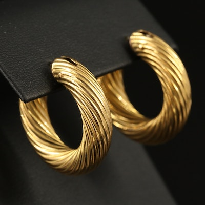 18K Twisted Hoop Earrings