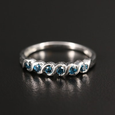 10K Blue Diamond Band with S Link Motif