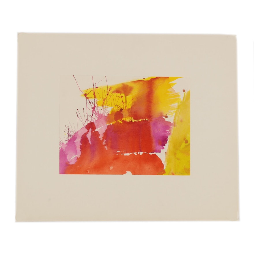 Abstract Watercolor Painting, Mid to Late 20th Century