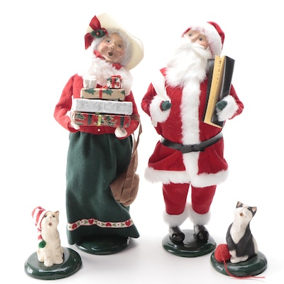 Byers' Choice Santa and Talbots Exclusive Carolers, Late 20th-Early 21st Century