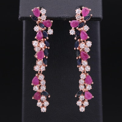 Sterling Ruby, Sapphire and Cubic Zirconia Cluster Dangle Earrings