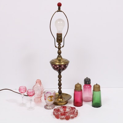 Victorian Glass Muffineers, Brass Candlestick Lamp with Other Bohemian Glass