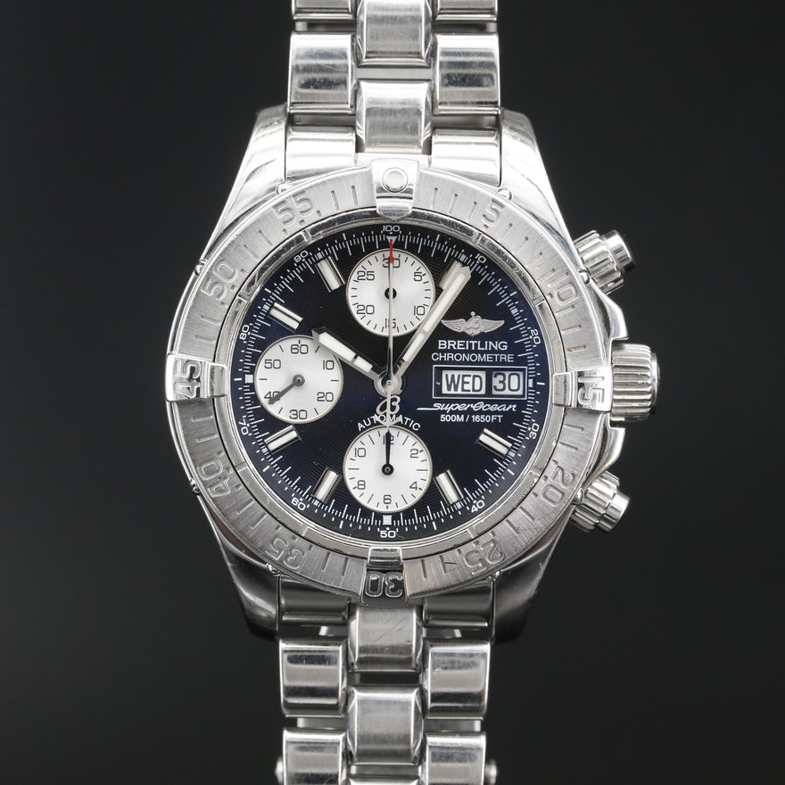 Breitling Chrono Superocean Stainless Steel Automatic Wristwatch