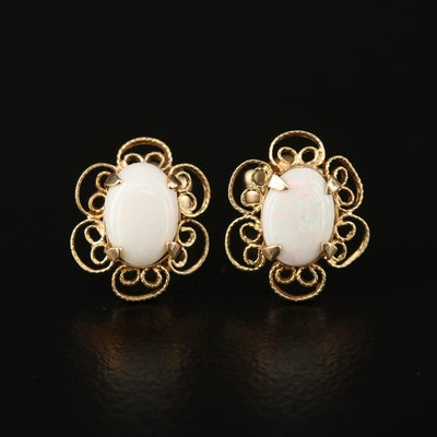 14K Opal Stud Earrings with Openwork Trim