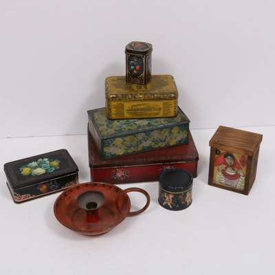 Decoupage and Tole Painted Boxes, and Finger Hook Candlestick