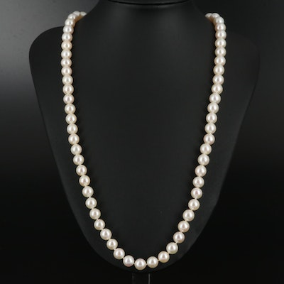 Mikimoto 18K Pearl Clasp on Hand Knotted Strand of Pearls