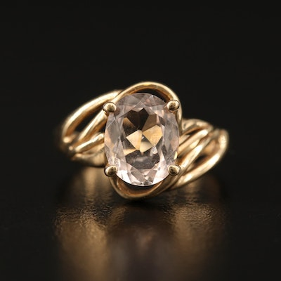 10K Morganite Ring with Open Shoulders