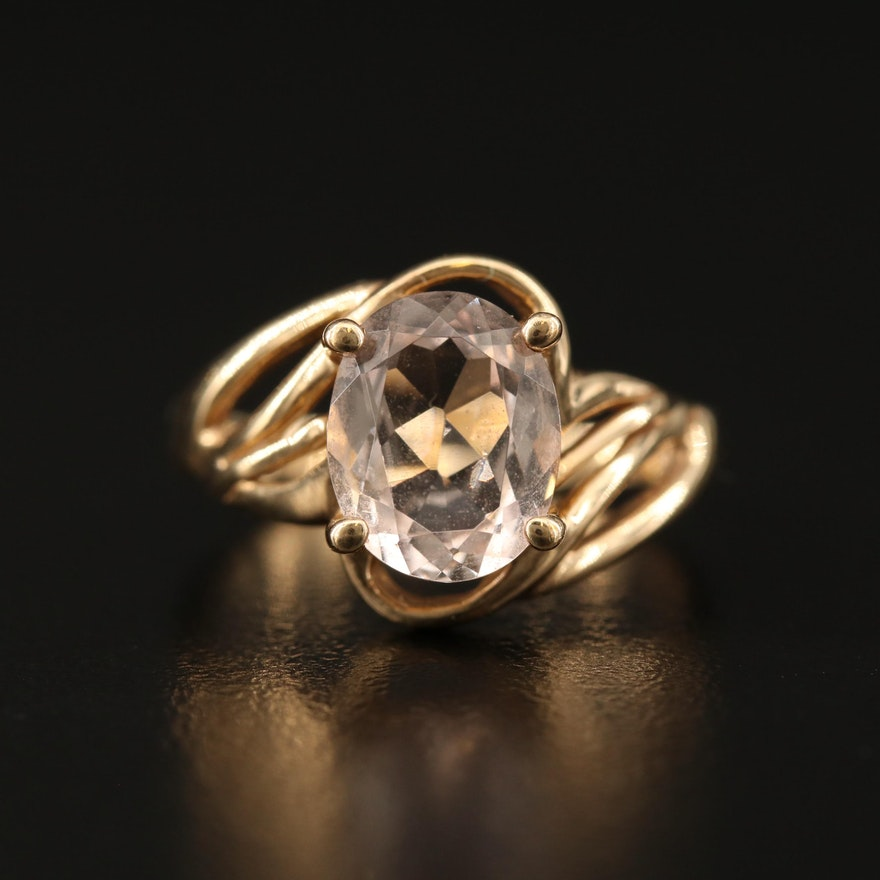 10K Morganite Ring with Open Shoulders