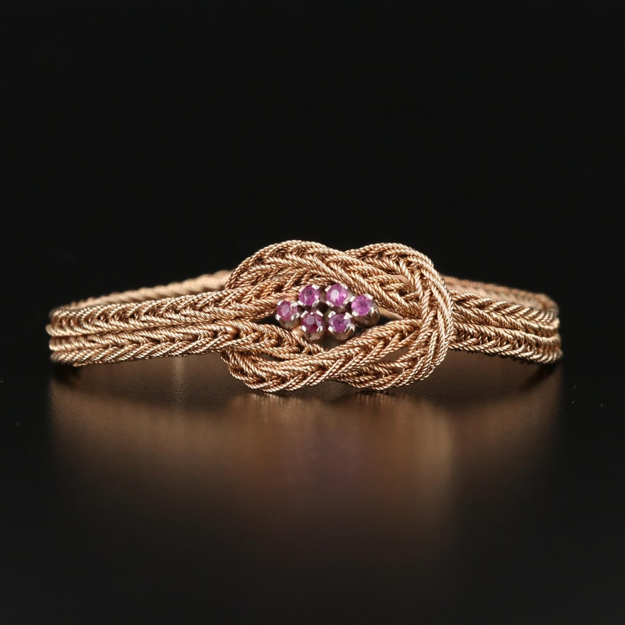 14K Ruby Braided Knot Bracelet