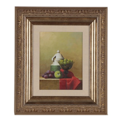 Still Life Oil Painting of Apples and Grapes, 20th Century