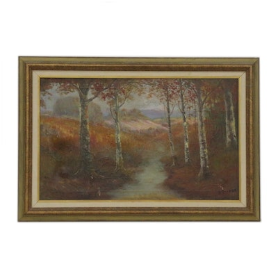 Autumn Landscape Oil Painting, Early 20th Century