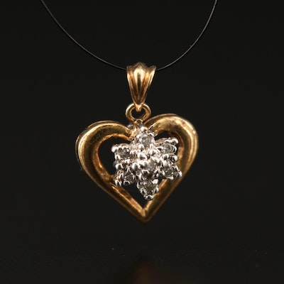 10K Diamond Cluster Heart Pendant