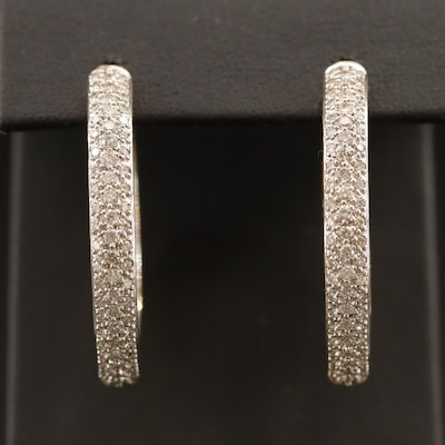 18K 2.25 CTW Pavé Diamond Inside-Out Hoop Earrings