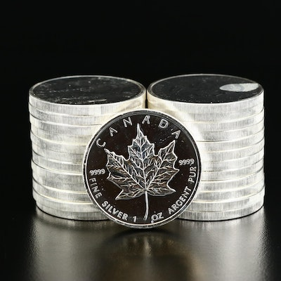 Roll of Twenty-Five 2009 $5 Canadian Maple Leaf Silver Bullion Coins