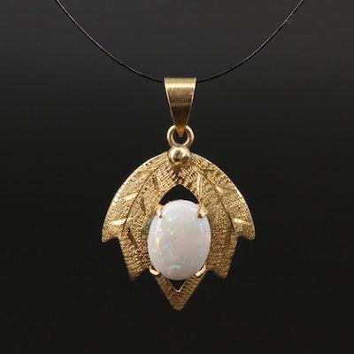 14K Opal Leaf Pendant