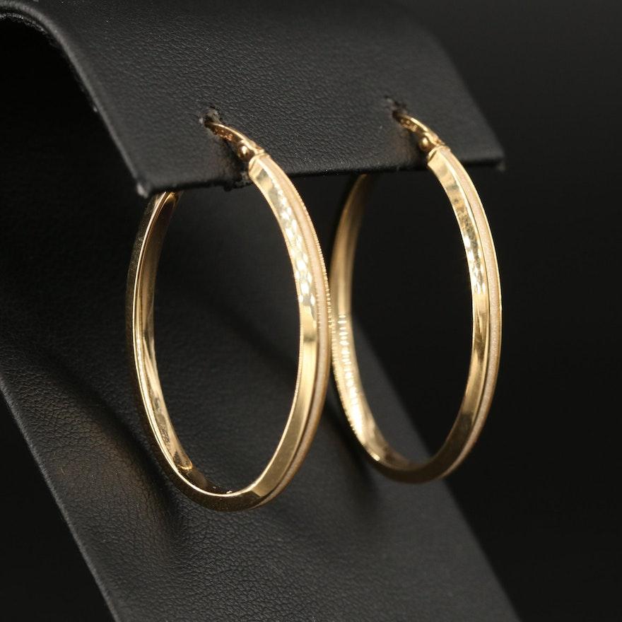 10K Elongated Textured Hoop Earrings