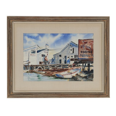 Edward Mayo Marina Watercolor Painting, Mid 20th Century