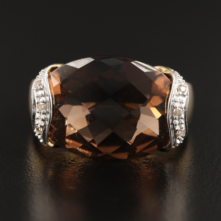 10K Smoky Quartz and Diamond Ring