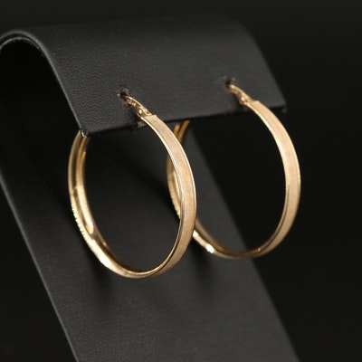 10K Textured Hoop Earrings