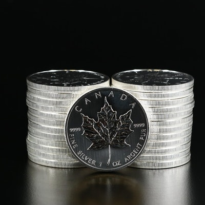 Roll of Twenty-Five 2013 $5 Canadian Maple Leaf Silver Bullion Coins