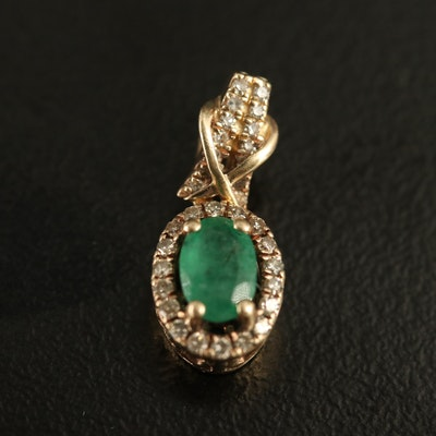 10K Emerald and Diamond Pendant