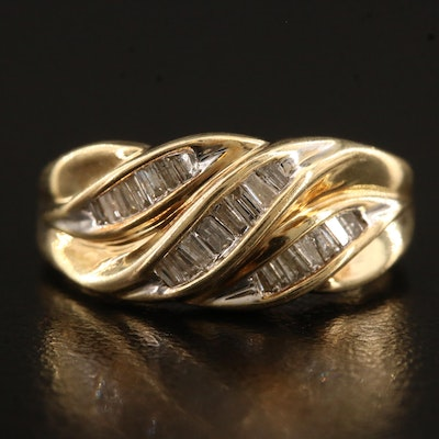 10K Diamond Ripple Design Ring