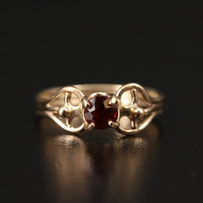 14K Garnet Ring with Openwork Shoulders