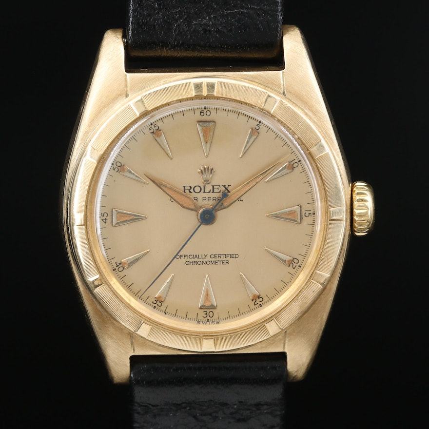 "1948 Rolex ""Oyster Perpetual"" Bubble Back 14K Gold Automatic Wristwatch"