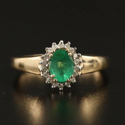 14K Emerald and Diamond Halo Ring