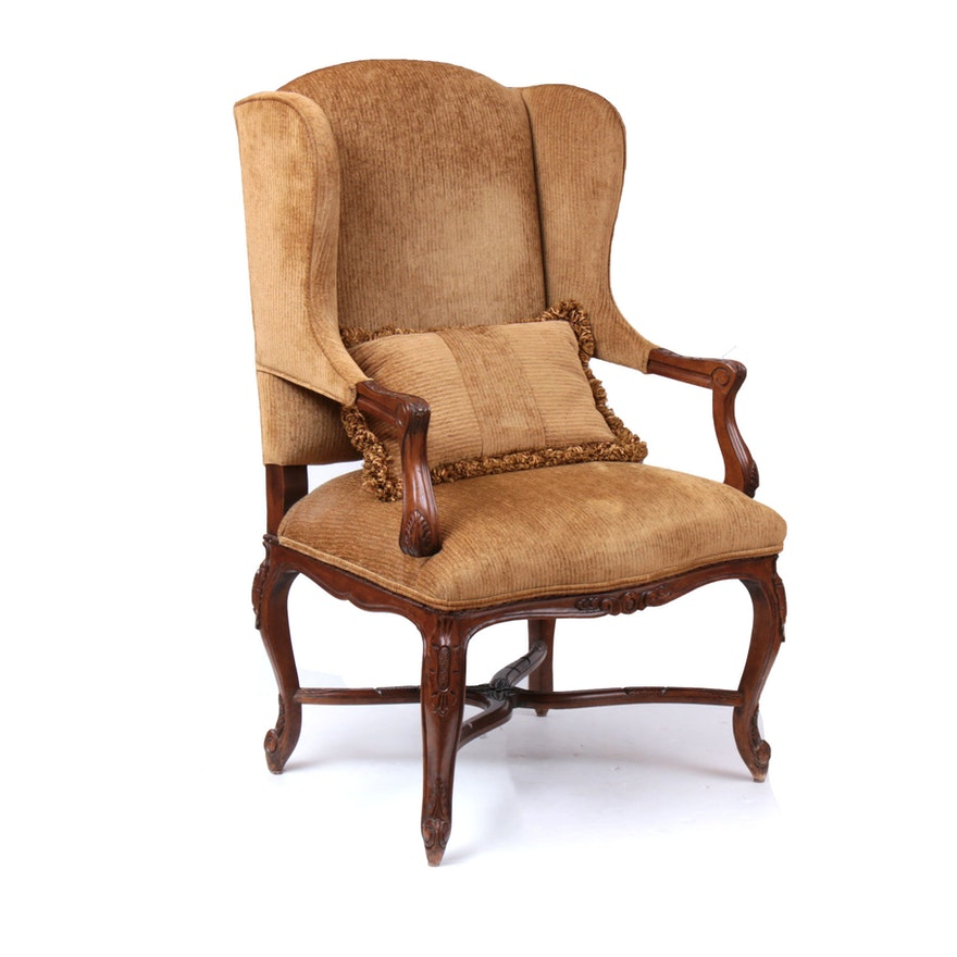 Century French Provincial Style Carved Wood Wingback Armchair, Late 20th Century