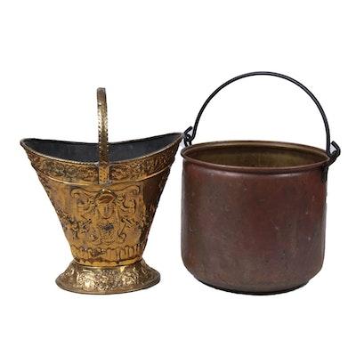 Belle Époque Repoussé Brass Coal Hod and Copper-Clad Bucket, 19th C.