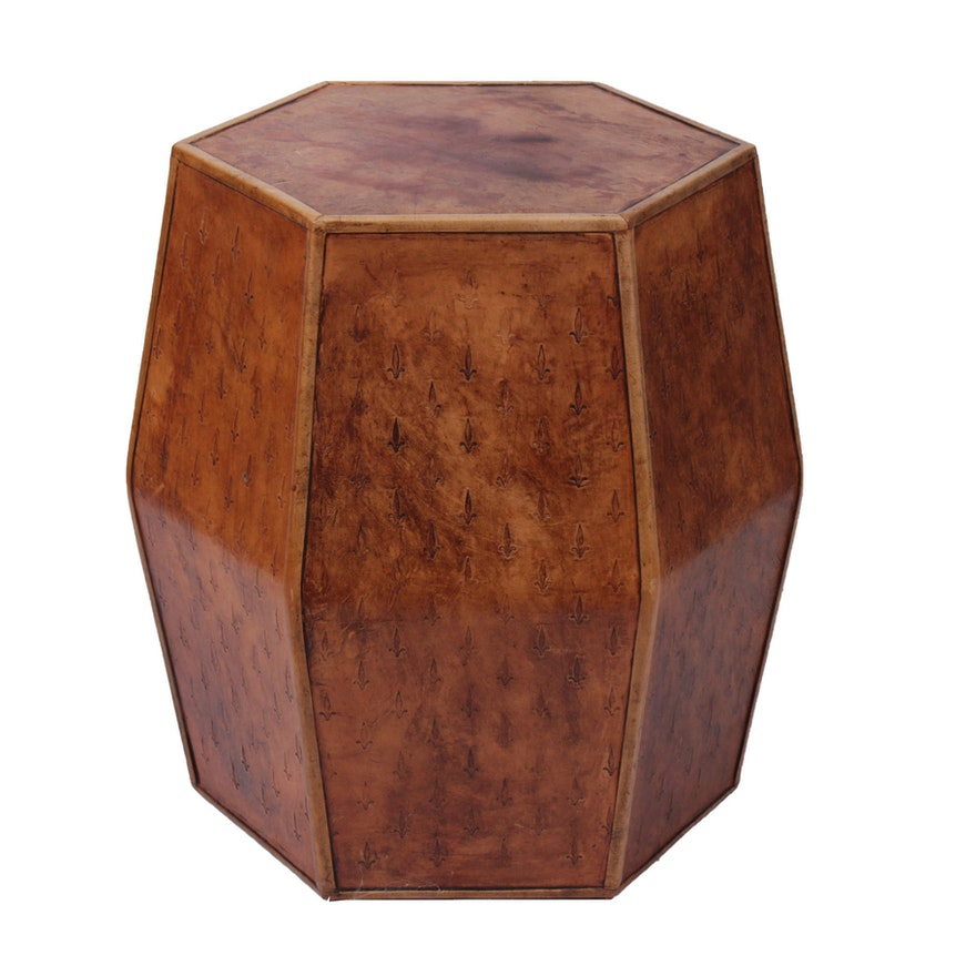 Fleur de Lis Embossed Leather-Covered Tabouret Table