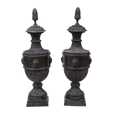 Pair of Bronze Neoclassical Urns, Contemporary