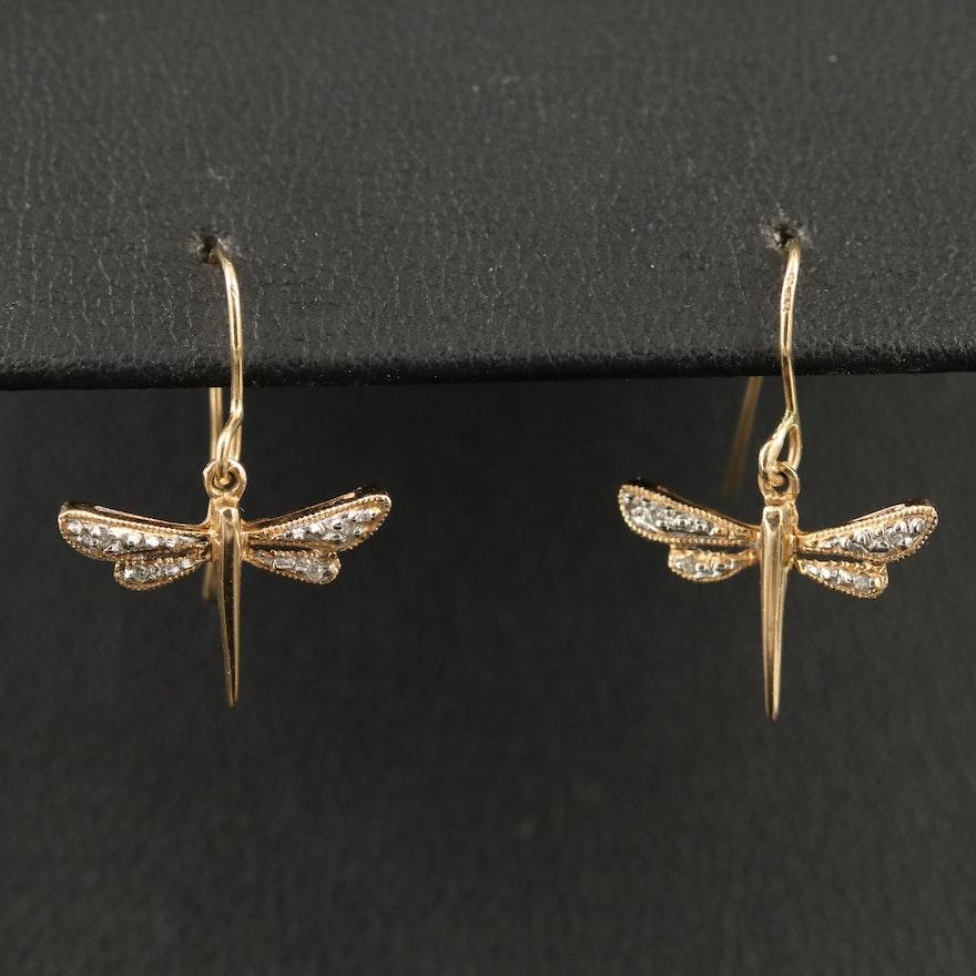 14K Diamond Dragonfly Dangle Earrings