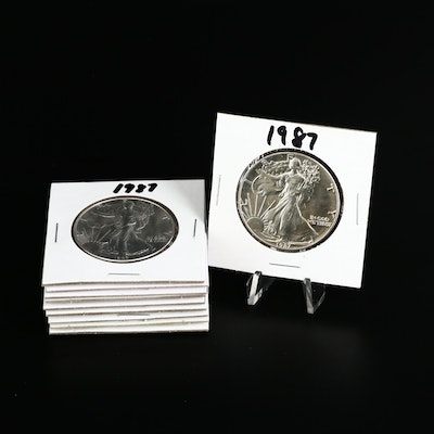 Ten 1987 American Silver Eagle Dollar Bullion Coins