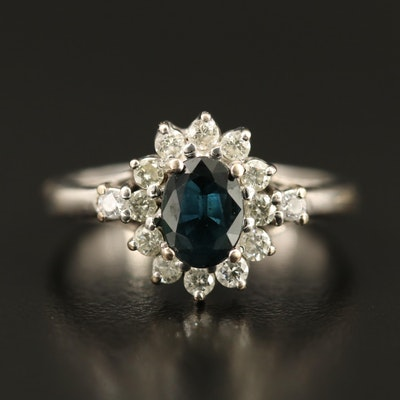 14K 1.10 CT Sapphire, Diamond and Cubic Zirconia Halo Ring