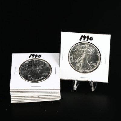 Ten 1990 American Silver Eagle Dollar Bullion Coins